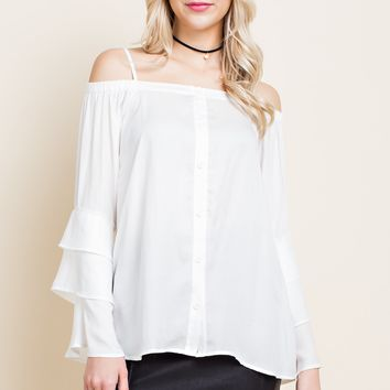 Cold Shoulder Top with Button Front and Adjustable Straps - White