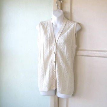 Cabled Cream V-Neck Sweater Vest; Women's Medium Button-Up Sleeveless Knit Tank; 'Old Man' Sweater Vest; U.S. Shipping Included