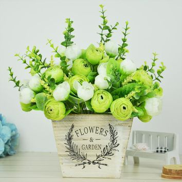 6pcs Decoration Mariage Wedding And Home Decor Artificial Bud Flowers Silk Rose Flores Wedding Bouquet Table Centerpieces
