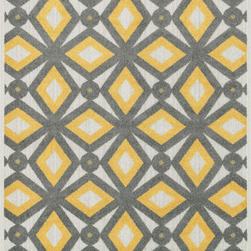 "Oasis Grey / Lemon 5'2"" X 7'5"" Rug"