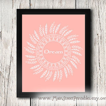 DREAM, Inspirational Art Poster, Child's Room or Nursery, Coral, Feather Tribal Art, Printable Wall Art, INSTANT DOWNLOAD