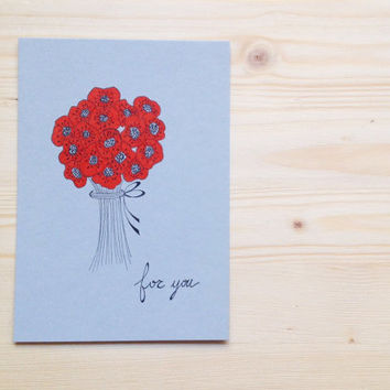 Floral Card, Hand Drawn Notecard with Red Poppies, Mothers Day Card, OOAK, Spring