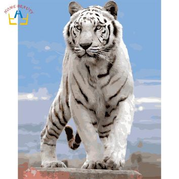 Diy acrylic paints coloring by numbers on canvas nordic wall art paintings for the kitchen wall home decor animals tiger WYA392