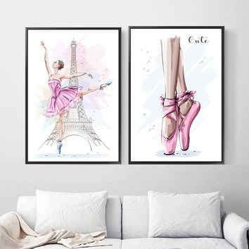 Cartoon Paris Tower Ballet Girl Wall Art Canvas Posters And Prints Canvas Painting Nordic Poster Wall Pictures Kids Room Decor