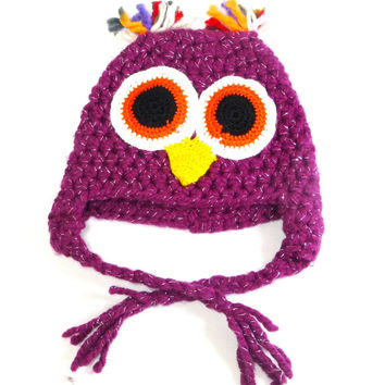 Kids Beret, Owl Beret, Knit kids hat, Kids winter accessories, Hand Knit Beret, Knitted Hats, Crochet kids beret, Girl's headwear, Knit Hat