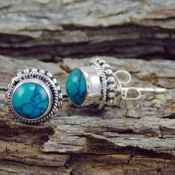Antique Style Jewelry Natural Gemstone Turquoise 925 Sterling Silver Beautiful Stud Earring (Color: Blue)