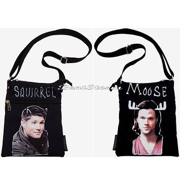 Licensed cool Supernatural Sam Dean Moose Squirrel Canvas Crossbody Purse Bag Tote Licensed