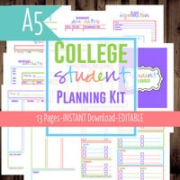 A5 Filofax-Student Planner-College Planner, Homework Planner, Printable-Filofax Insert-13 Sheets-Bright-INSTANT DOWNLOAD & EDITABLE