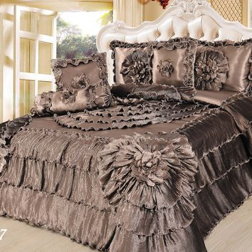 Tache 6 Piece Solid Brown Shades of Espresso Faux Satin Fancy Floral Comforter Set, King