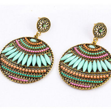 Colorful Ethnic Boho Bohemian Earrings Round Temperament Joker Indian Earrings For Women Fine Jewelry