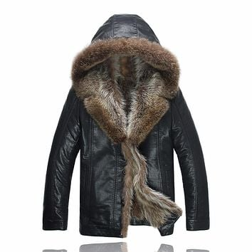 Leather Jacket Men Winter Jackets Men's Coats Thickening Wool Windbreak Waterproof Warm Skin Lamb Fur Trench Coat  4XL 1280