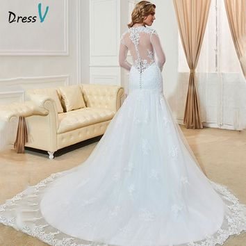 Dressv Fashionable Long Sleeves Mermaid Wedding Dresses 2017 Custom Made Lace High Neck Sheer Hollow Back Plus Size Bridal Gowns
