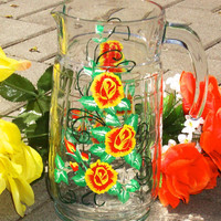 Hand Painted Glass Pitcher With Red Roses