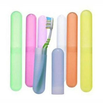 ICIK272 New 1 Pcs Protect Toothbrush Tube Cover Travel Hiking Camping Toothbrush Holder Case Box