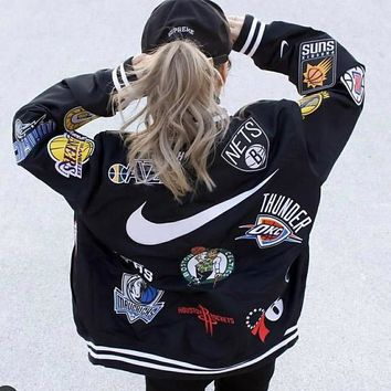 Nba Supreme Nike three-way signature baseball jacket Logo embroidery fashion style easy to wear large size coat men and women alike
