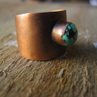 Turquoise ring One World copper tapered ring by CopperTreeArt