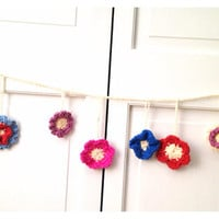 Crochet Flower flower garland  flower bunting by Parachet on Etsy