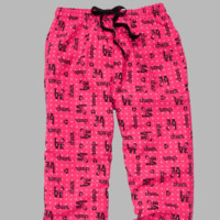 Cheer Love Flannel Pants.  Cotton.  Hot Pink and Black.