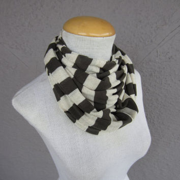 Olive Green and Cream Striped Infinity Scarf  by CatStitchClothing