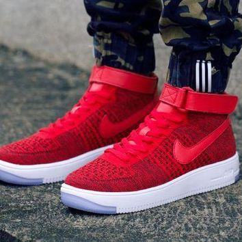 ESBBE6 Nike Air Force 1 Flyknit Mid-High 817420-601 Red Women Men Shoes Sneakers