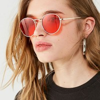 Cherry Red Metal Round Sunglasses | Urban Outfitters