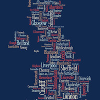 Great Britain UK City Text Map Canvas
