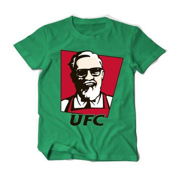 Summer Conor McGregor UFC KFC Colonel Harland Sanders Creative Design Printed Short Sleeve T Shirt Men Cotton Tees Funny T-Shirt