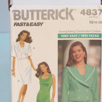 Butterick Fast & Easy sewing pattern 4837 women's jacket and dress size 12-14-16