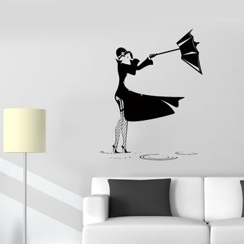Wall Stickers Girl Puddle Rain Thunderstorm Wind Umbrella Vinyl Decal Unique Gift (ed503)
