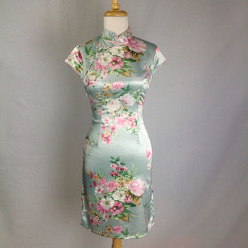 Vintage Pastel Mini Cheongsam Dress Top XS/S Size