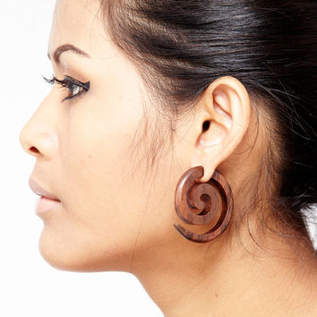 "Fake Gauge Earrings - Wood Earrings Fake Piercing - Push Back ""Infinities"" Sono Wood Earrings"