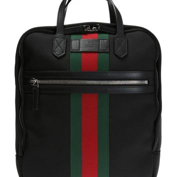 Gucci Black Canvas with Green and Red Web Stripe Satchel Backpack 495558