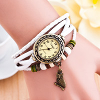 Retro Owl Pendant Woven Bracelet Watch