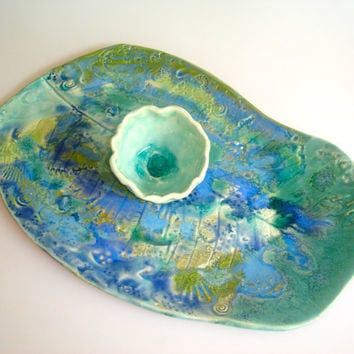Ceramic serving platter for sushi with an ocean by Clayshapes