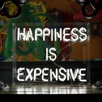 happiness is expensive freestanding neon light - 47 Park Avenue