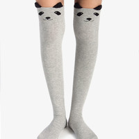 Grey Panda Thigh High Socks
