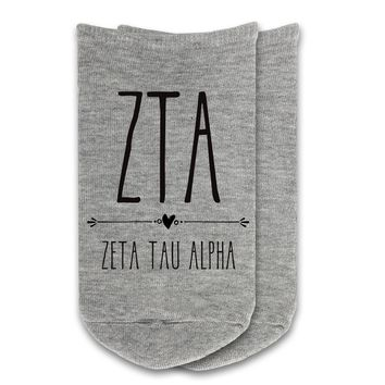 Zeta Tau Alpha - Boho Greek Letter No-Show Socks
