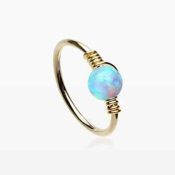 Golden Fire Opal Sparkle Wire Sterling Silver Bendable Hoop Ring