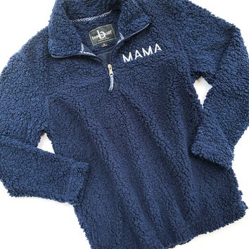 MAMA Embroidered Sherpa Pullover - Navy w/ Metallic Silver (PREORDER)