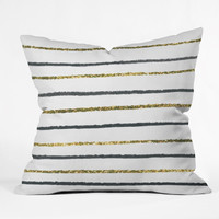 Social Proper Golden Black Outdoor Throw Pillow