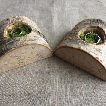 His and Hers Ring Bearer Pillow Alternative,White Birch Slice,Woodland Wedding,Moss Ring Bearer Pillow,Country Wedding, Ring Bearer Pillow