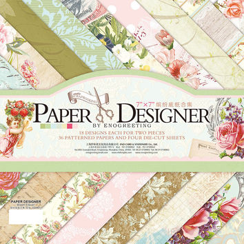 "7"" Scrapbook Paper Pad Vintage Scrapbooking Paper with Decorative Die Cuts Full Colors Printed Background Craft Paper"