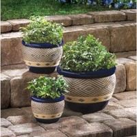 Bright Blue Ceramic Planters Trio