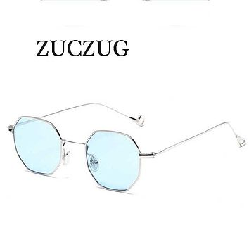 Metal Small Frame Polygon Clear Square Sunglasses for Women