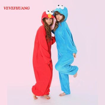 VEVEFHUANG Blue Cookie Monster Red Sesame Street Elmo Animal Cosplay Pajamas Onesuit For Adults One Piece Pijama Hooded Sleepwear