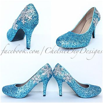 Aqua Glitter High Heels, Turquoise Blue Platform Prom Pumps, Silver Snowflake Shoes
