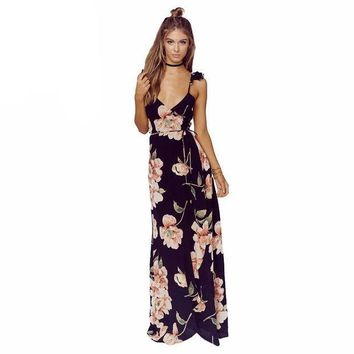 ESBONEJ Floral Print  Backless Split Maxi Plunge Neck  Boho Dress