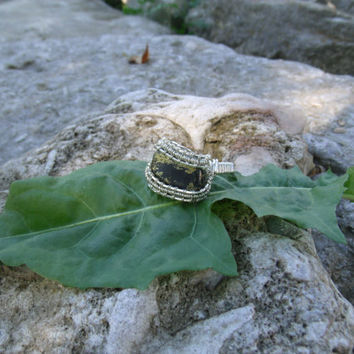 Wire Wrap Ring Healers Gold Black 925 Sterling Silver Size 10 Handmade Heady Jewelry