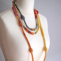 Scarf necklace in yellow, orange and gray shades, crochet cotton necklace, african style necklace,  fashion accessory