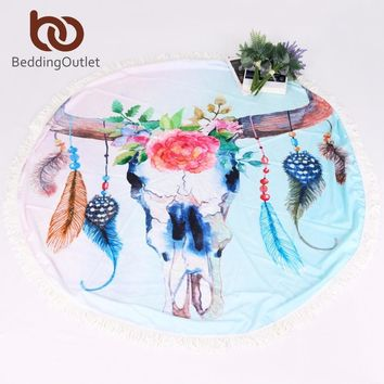 BeddingOutlet Skull Summer Beach Towels Floral Printed Bath Towel Round Blanket with Tassel Yoga Mat 146cm Thin and Lightweight